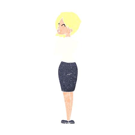 ignoring: cartoon businesswoman ignoring Illustration