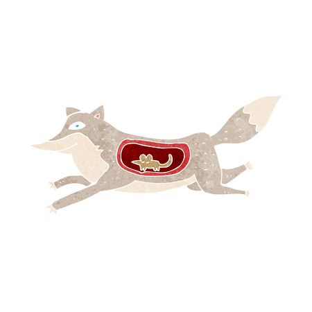 cartoon wolf with mouse in belly Vector