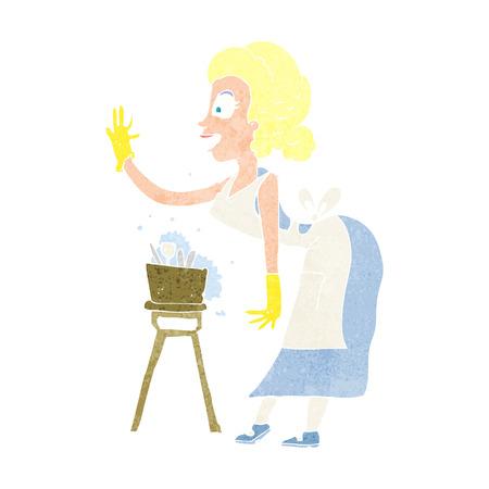 cartoon housewife washing up Vector