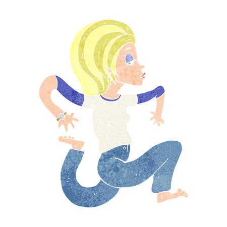 donna che corre: cartone animato donna in esecuzione