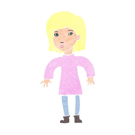 cartoon cautious woman Illustration