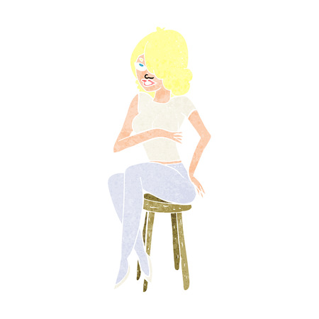 bar stool: cartoon woman sitting on bar stool