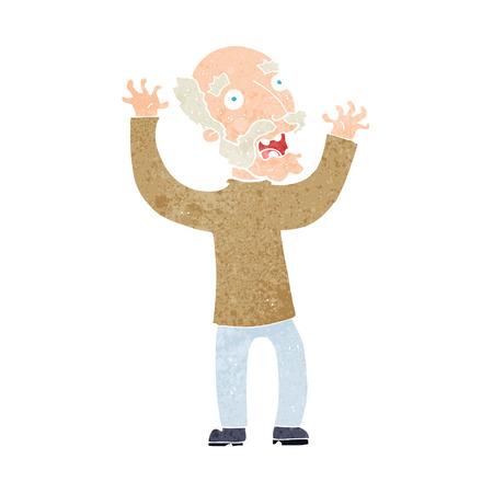 cartoon terrified old man Vector
