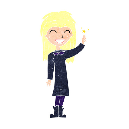 wicca: cartoon friendly witch girl Illustration