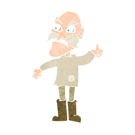 cartoon angry old man in patched clothing Vector
