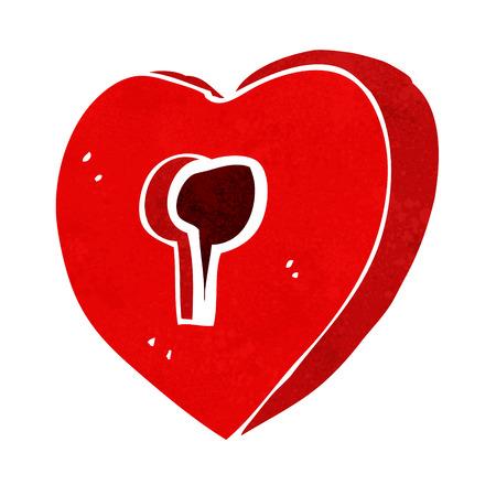 hartje cartoon: cartoon hart met sleutelgat Stock Illustratie