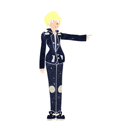 leather jacket: cartoon woman in leather jacket pointing Illustration
