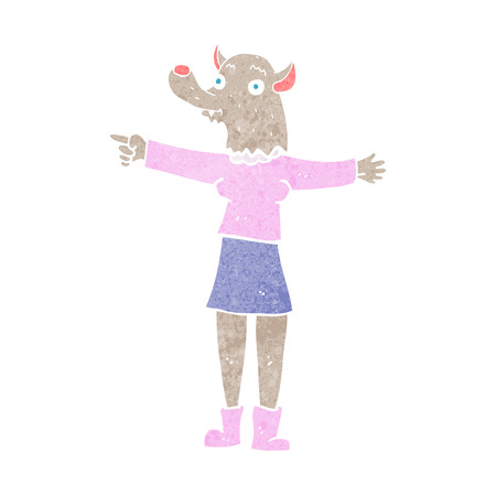 cartoon pointing werewolf woman Vector