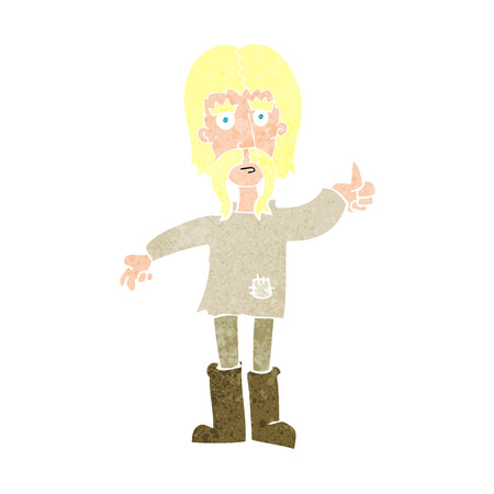 crazy hair: cartoon hippie man giving thumbs up symbol Illustration