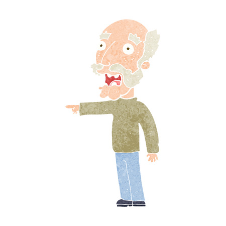 man pointing: cartoon scared old man pointing