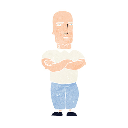 folded hands: cartoon annoyed bald man