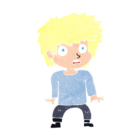 cartoon frightened boy Vector
