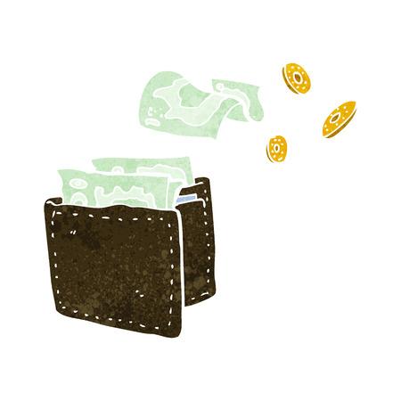 spilling: cartoon wallet spilling money