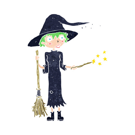 cartoon witch casting spell Vector