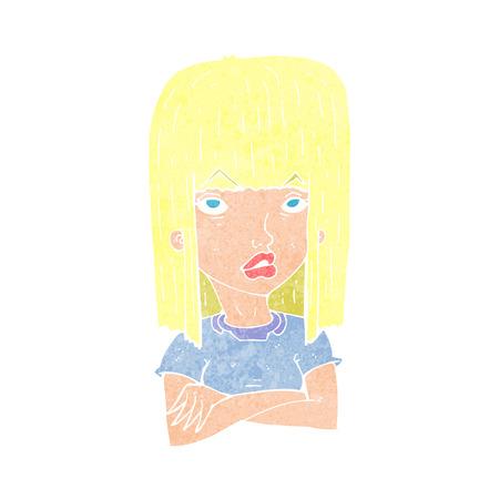 folded arms: cartoon girl with folded arms