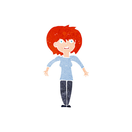cartoon woman shrugging shoulders Vector