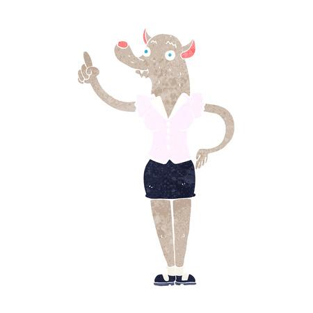 cartoon werewolf woman with idea Vector