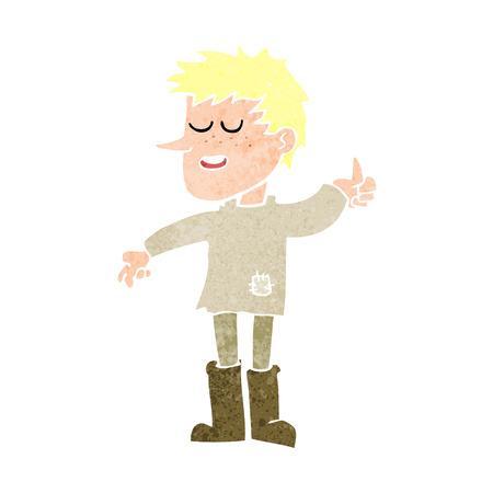actitud positiva: dibujos animados pobre muchacho con actitud positiva