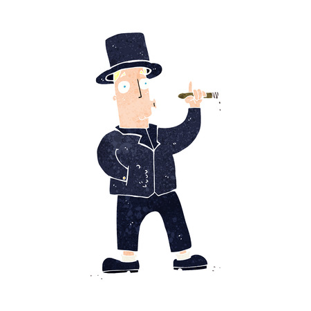 vintage cigar: cartoon smoking gentleman Illustration