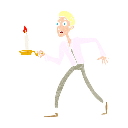 cartoon frightened man walking with candlestick
