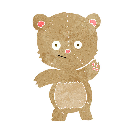 cartoon waving teddy bear Vector
