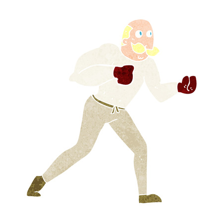 cartoon retro boxer man Vector