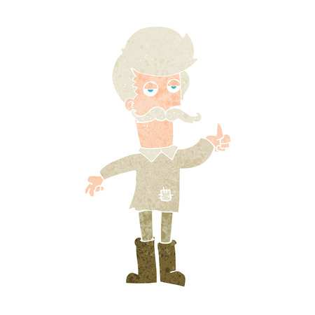 patched up: cartoon old man in poor clothes Illustration