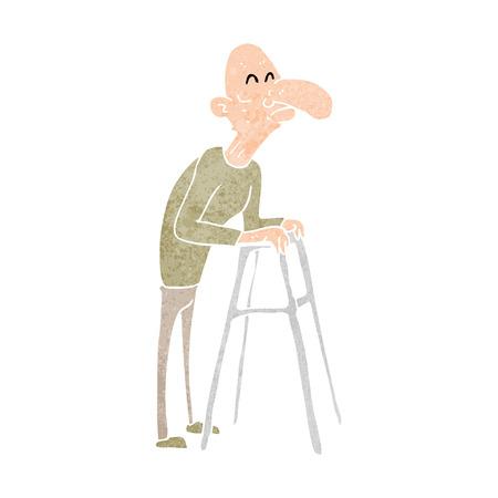 Cartoon Old Man With Walking Frame Royalty Free Cliparts, Vectors ...