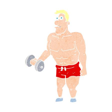 hombre levantando pesas: hombre de dibujos animados levantar pesas