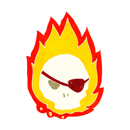 cartoon burning skull Vector