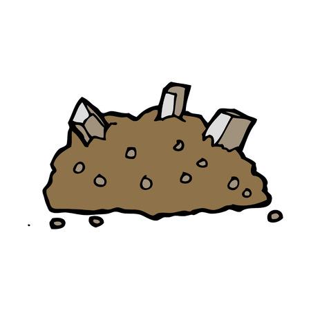 瓦礫の山を漫画
