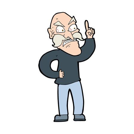 cartoon old man laying down rules Vektorové ilustrace