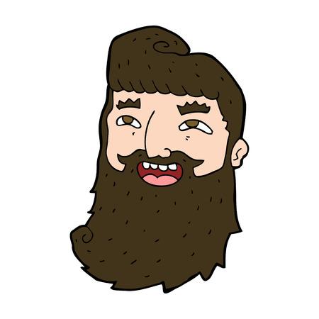 bearded man: cartoon laughing bearded man