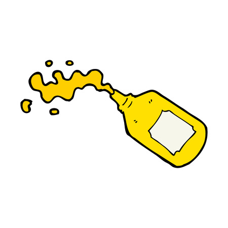 cartoon squirting mustard bottle