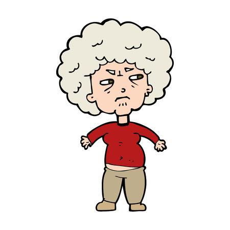 cartoon annoyed old woman Vector