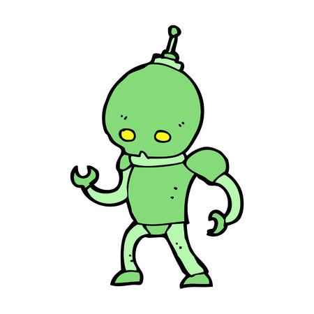 cartoon alien: cartoon alien robot Illustration