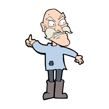 patched: cartoon angry old man in patched clothing