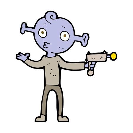 ray gun: cartoon alien with ray gun