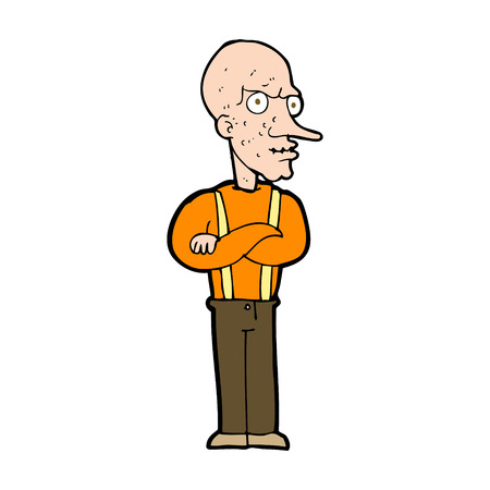 bald ugly: cartoon mean old man