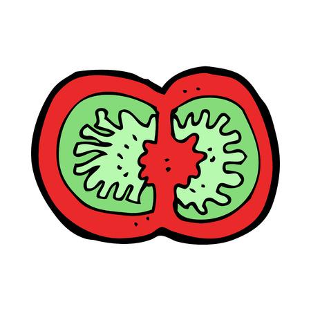 sliced: de dibujos animados en rodajas de tomate