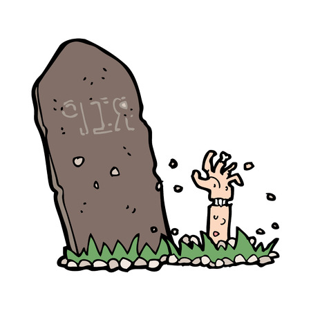 cartoon zombie rising from grave Vector