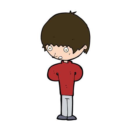 cartoon nervous boy