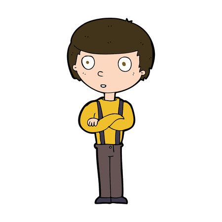 folded arms: cartoon staring boy with folded arms