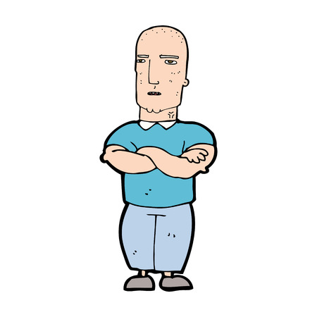 cartoon annoyed bald man Vector