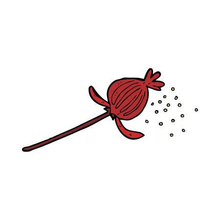 cartoon dried poppy flower Vector
