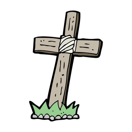 cruz de madera: de dibujos animados de madera tumba cruz