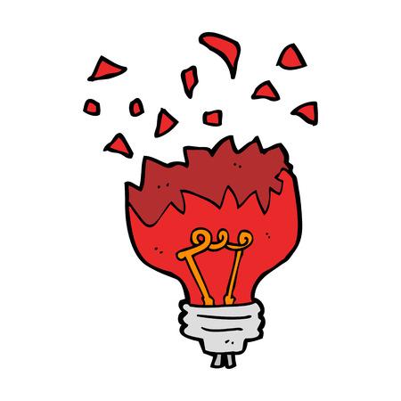 semaforo rosso: cartone animato lampadina rossa esplosione