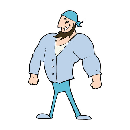 cartoon manly sailor man Vector