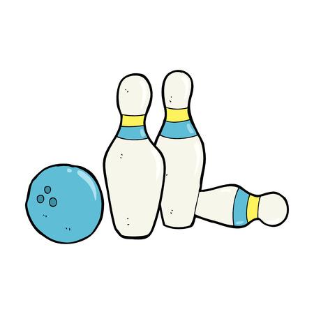 quilles: bande dessin�e de boule de bowling et quilles Illustration