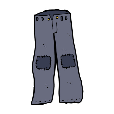 repaired: cartoon patched old jeans